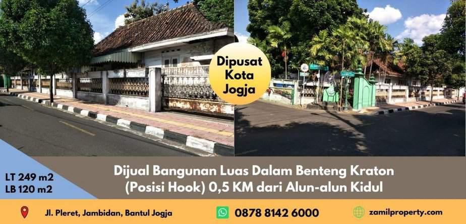 Dijual Bangunan Luas Dalam Benteng Kraton (Posisi Hook) 0,5 KM dari Alun-alun Kidul