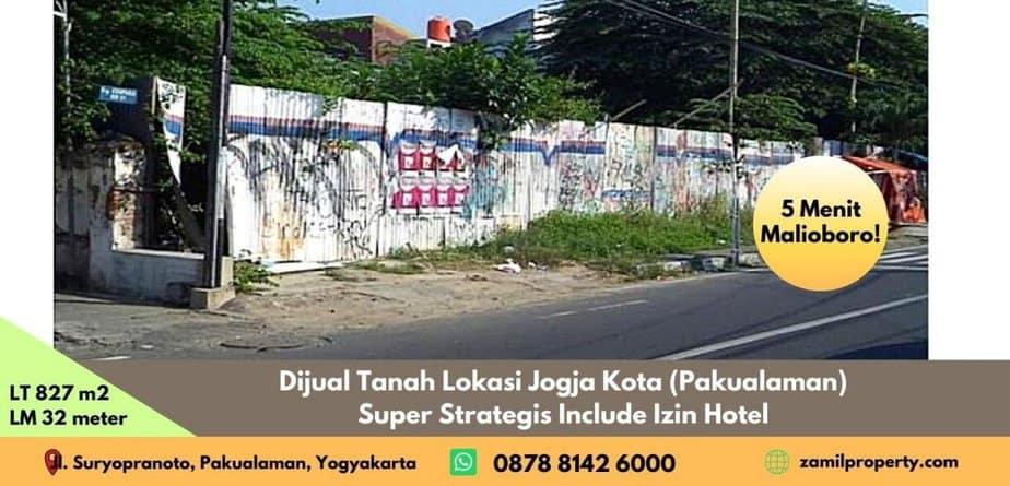 Dijual Tanah Lokasi Jogja Kota (Pakualaman) Include Izin Hotel 5 menit Malioboro